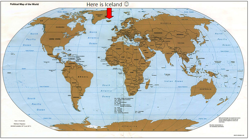 World map with an arrow pointing at Iceland on the map.