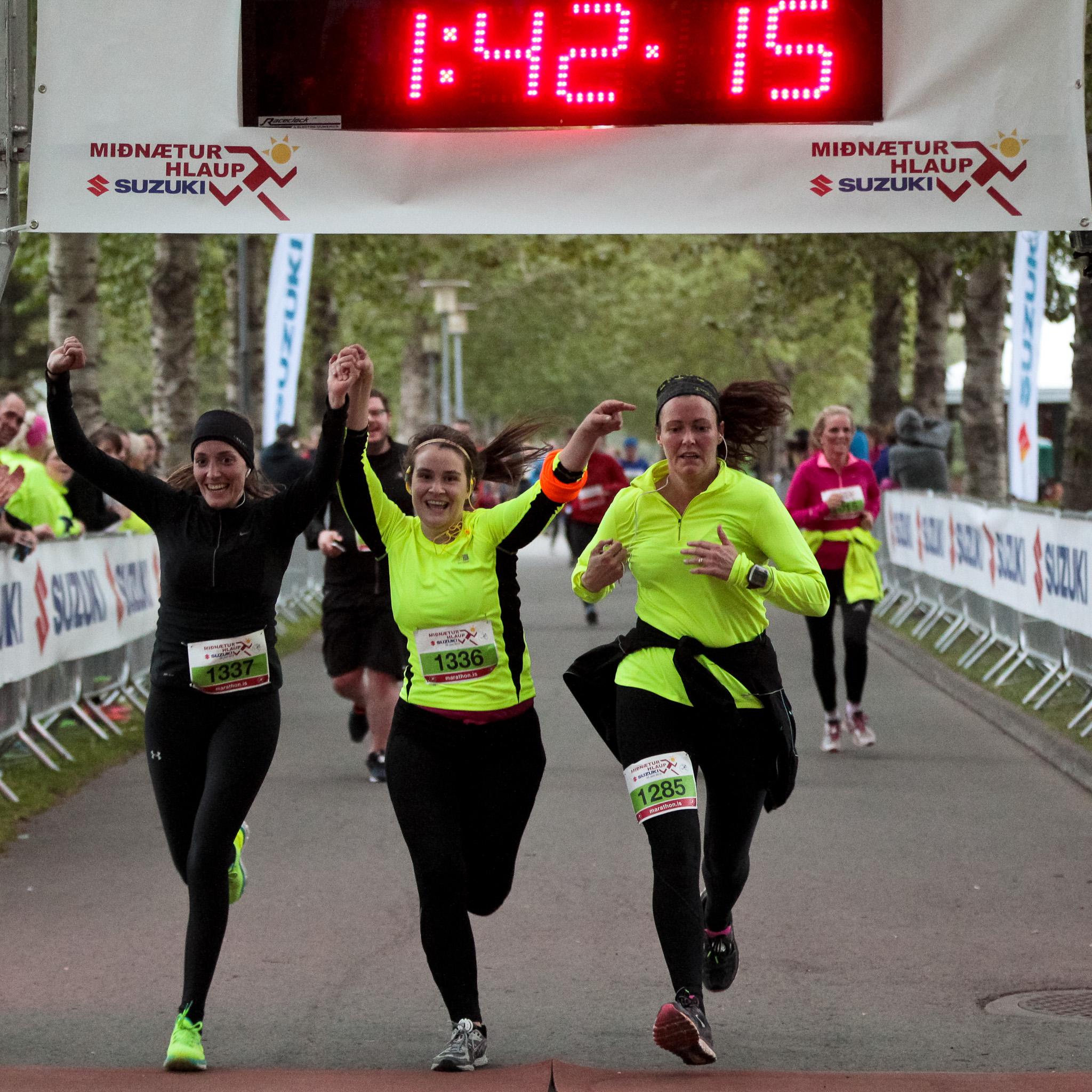 Friends finishing the Suzuki Midnight Sun Run