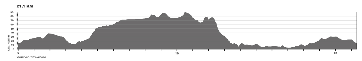 Elevation map for the 21.1 km race.